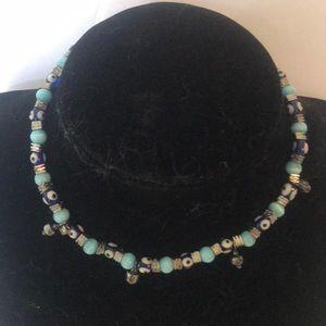 """VINTAGE"" Evil Eye Handmade Bead Necklace ."